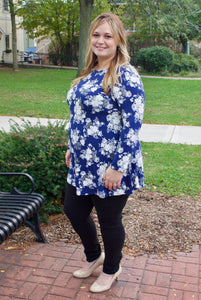 Navy with White Flowers Tunic
