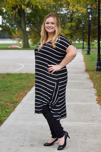 Striped Midi Dress with Twist