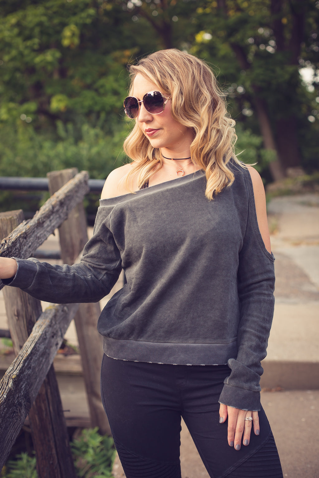 Charcoal Open Shoulder Sweater