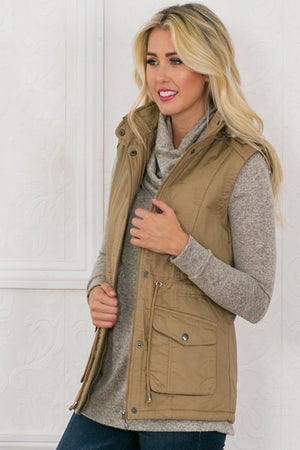 Beige Vest with Fur Hood