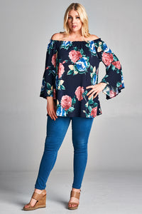 Navy Floral Off the Shoulder Top