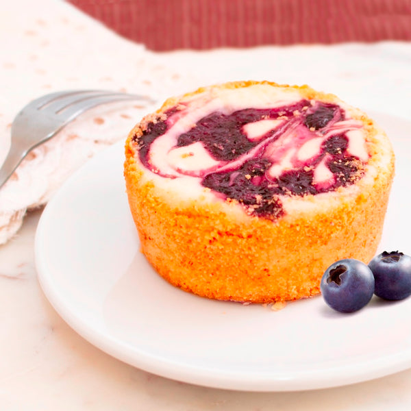 BC45- 4 oz Ind Blueberry Topped Cheese Cake _  تشيز كيك توت الأزرق دائرى