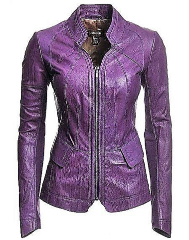 Diapo Leather Women's Lavender Cowhide Vegetable Tanned Leather Jacket  40% OFF