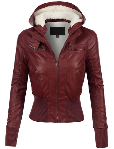 Diapo Leather Women's Bomber Maroon Cowhide Vegetable Tanned Leather Jacket with Hoodie   40% OFF