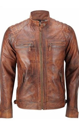 Diapo Leather Men's Brown Rivet  Distressed Cowhide Vegetable Tanned Leather Jacket    40% OFF