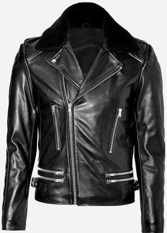 Diapo Leather Men's Black Rivet Asymmetrical with Fur Collar Cowhide Vegetable Tanned Leather  Jacket   40% OFF