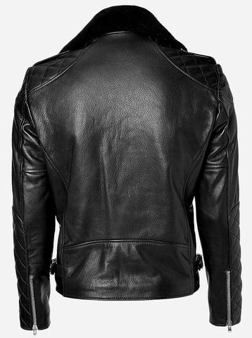 Diapo Leather Men's Black Rivet Asymmetrical with Fur Collar Cowhide Vegetable Tanned Leather  Jacket