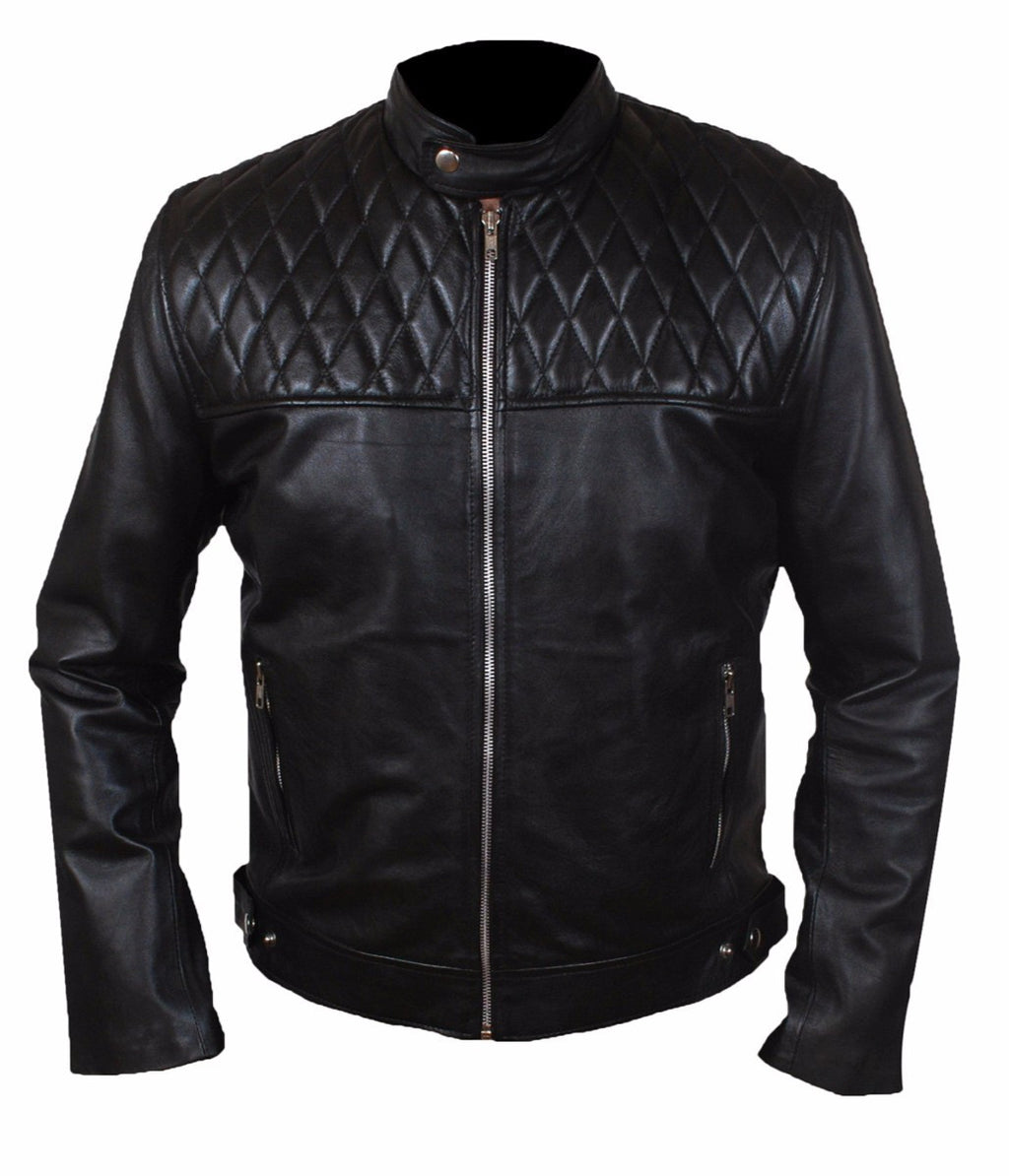 Diapo Leather Men's Black Rivet Center Zip with Shoulder Quilting Cowhide Vegetable Tanned Leather Jacket   40% OFF
