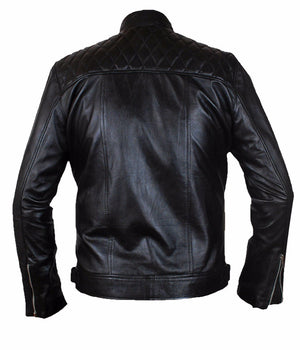 Diapo Leather Men's Black Rivet Center Zip with Shoulder Quilting Cowhide Vegetable Tanned Leather Jacket