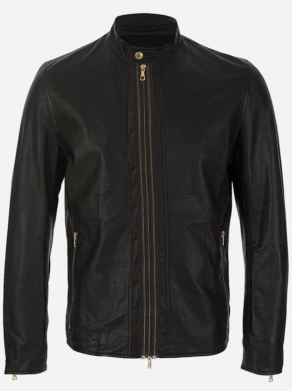 Diapo Leather Men's Black Rivet Center Zip Cowhide Vegetable Tanned Leather Jacket      40% OFF
