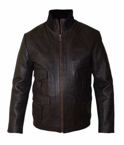Diapo Leather Men's Brown Rivet Center Zip Cowhide Vegetable Tanned Leather Jacket       40% OFF