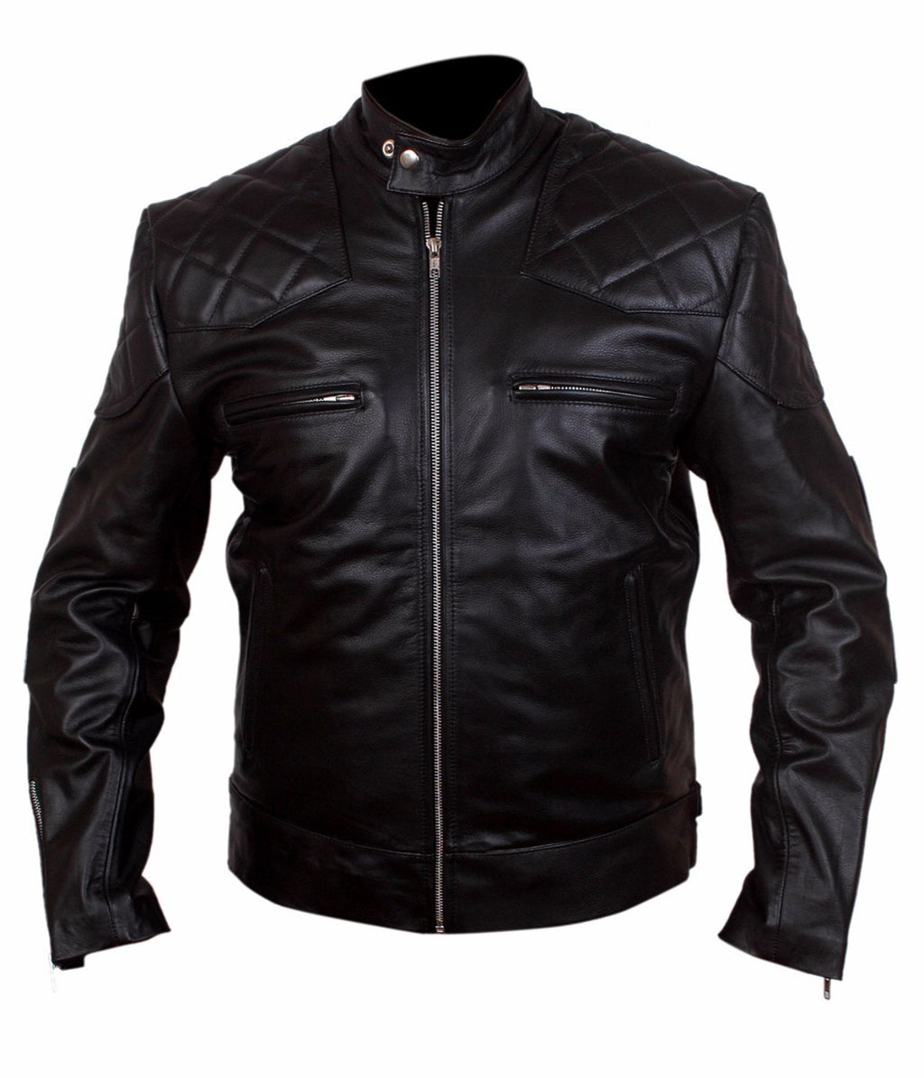 Diapo Leather Men's Black Rivet with Shoulder Quilting Center Zip Cowhide Vegetable Tanned Leather Jacket     40% OFF