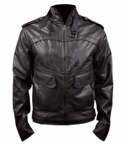 Diapo Leather Men's Black Cowhide Vegetable Tanned Leather Jacket     40% OFF