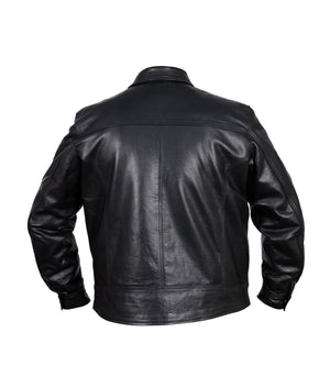 Diapo Leather Men's Black Cowhide Vegetable Tanned Leather Jacket