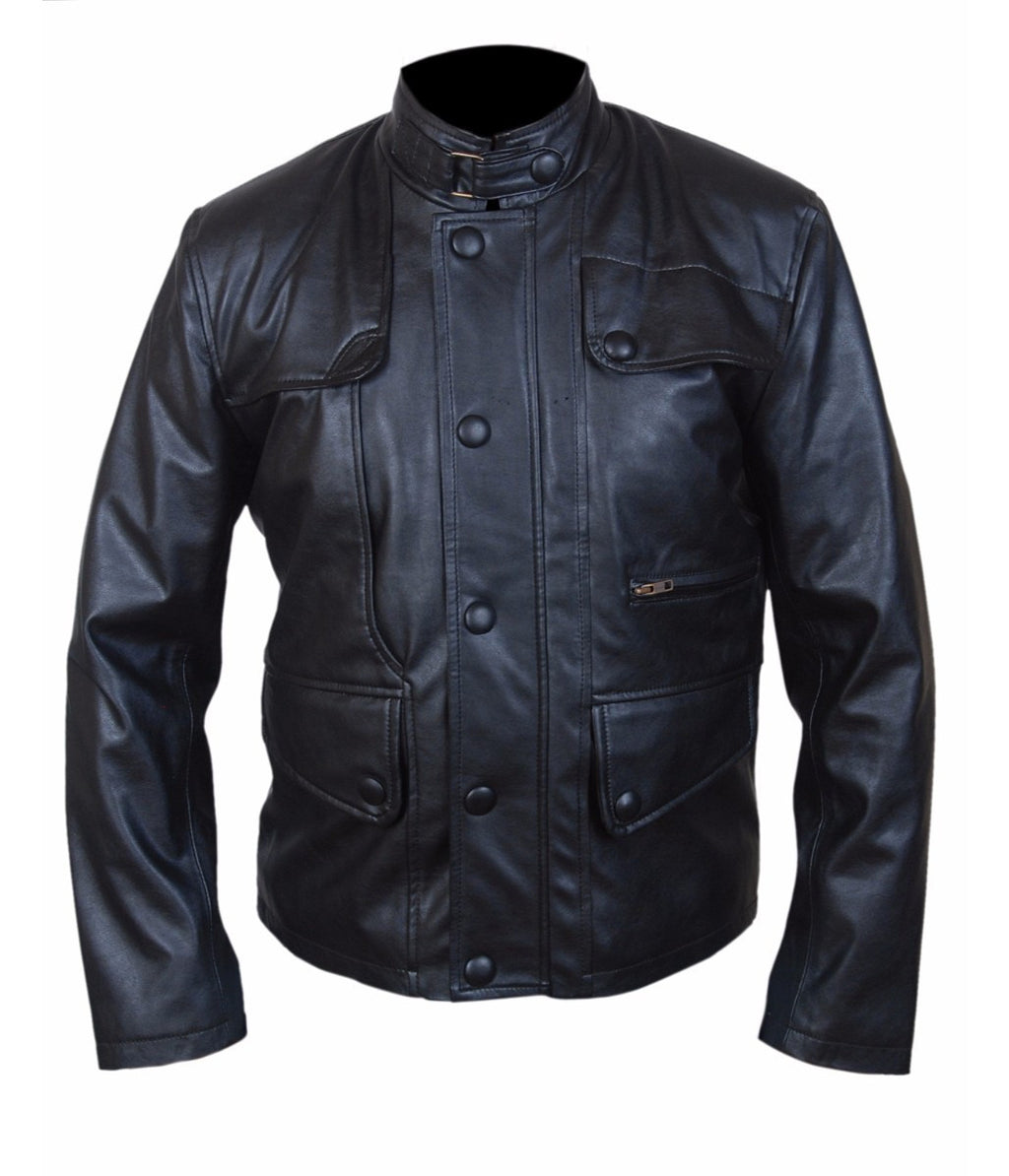 Diapo Leather Men's Black Rivet Center Zip with Tab Collar Cowhide Vegetable Tanned Leather Jacket      40% OFF