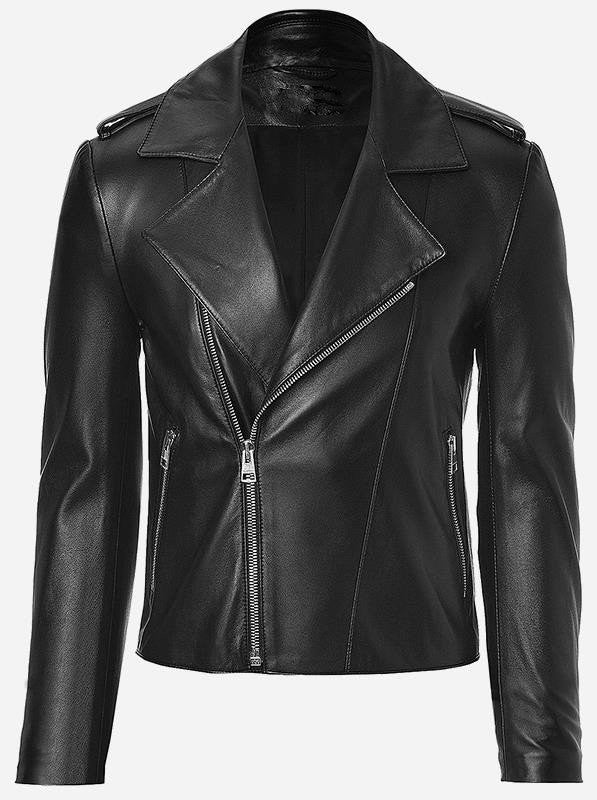 Diapo Leather Men's Black Rivet Classic Asymmetrical Cowhide Vegetable Tanned Leather Jacket   40% OFF