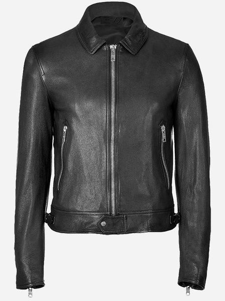 Diapo Leather Men's Black Rivet with Center Zip and Tab Collar Cowhide Vegetable Tanned Leather Jacket