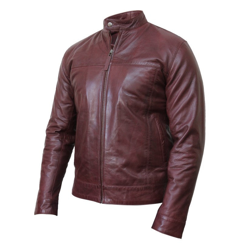 Diapo Leather Men's Dark Brown Rivet  Cowhide Vegetable Tanned Leather Jacket