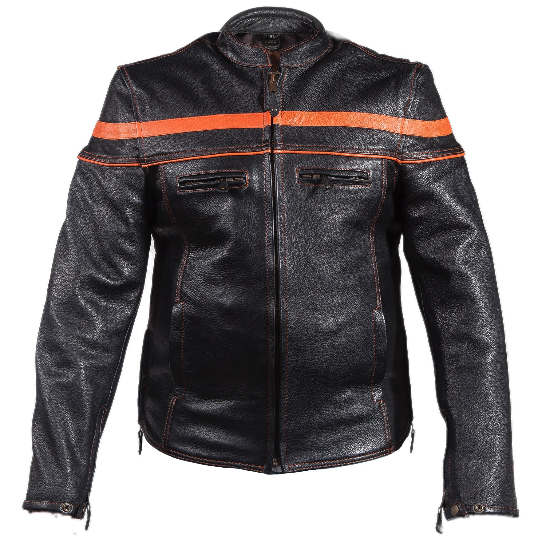 Diapo Leather Men's Black Rivet Center Zip with Red Stripe Cowhide Vegetable Tanned Leather Jacket