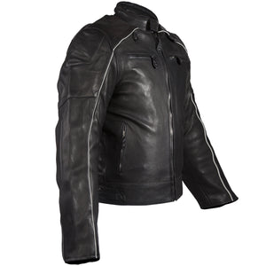 Diapo Leather Men's Black Rivet Tab Collar Center Zip Motorcycle Cowhide Vegetable Tanned Leather Jacket