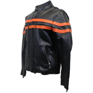 Diapo Leather Men's Black Cowhide Motorcycle Vegetable Tanned Leather Jacket with Red Stripe
