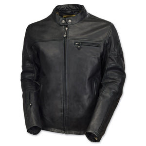 Diapo Leather Men's Black Center Zip with Tab Collar Cowhide Vegetable Tanned Leather Jacket     40% OFF
