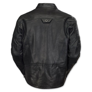 Diapo Leather Men's Black Center Zip with Tab Collar Cowhide Vegetable Tanned Leather Jacket