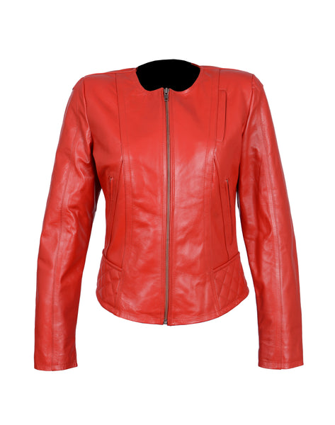 Diapo Leather Women's Red Revit Center Zip Round Neck  Cowhide Vegetable Tanned Leather Jacket
