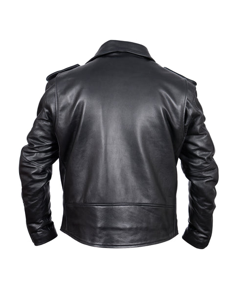 Diapo Leather Men's Black Rivet Asymmetrical  Cowhide Vegetable Tanned Leather Jacket