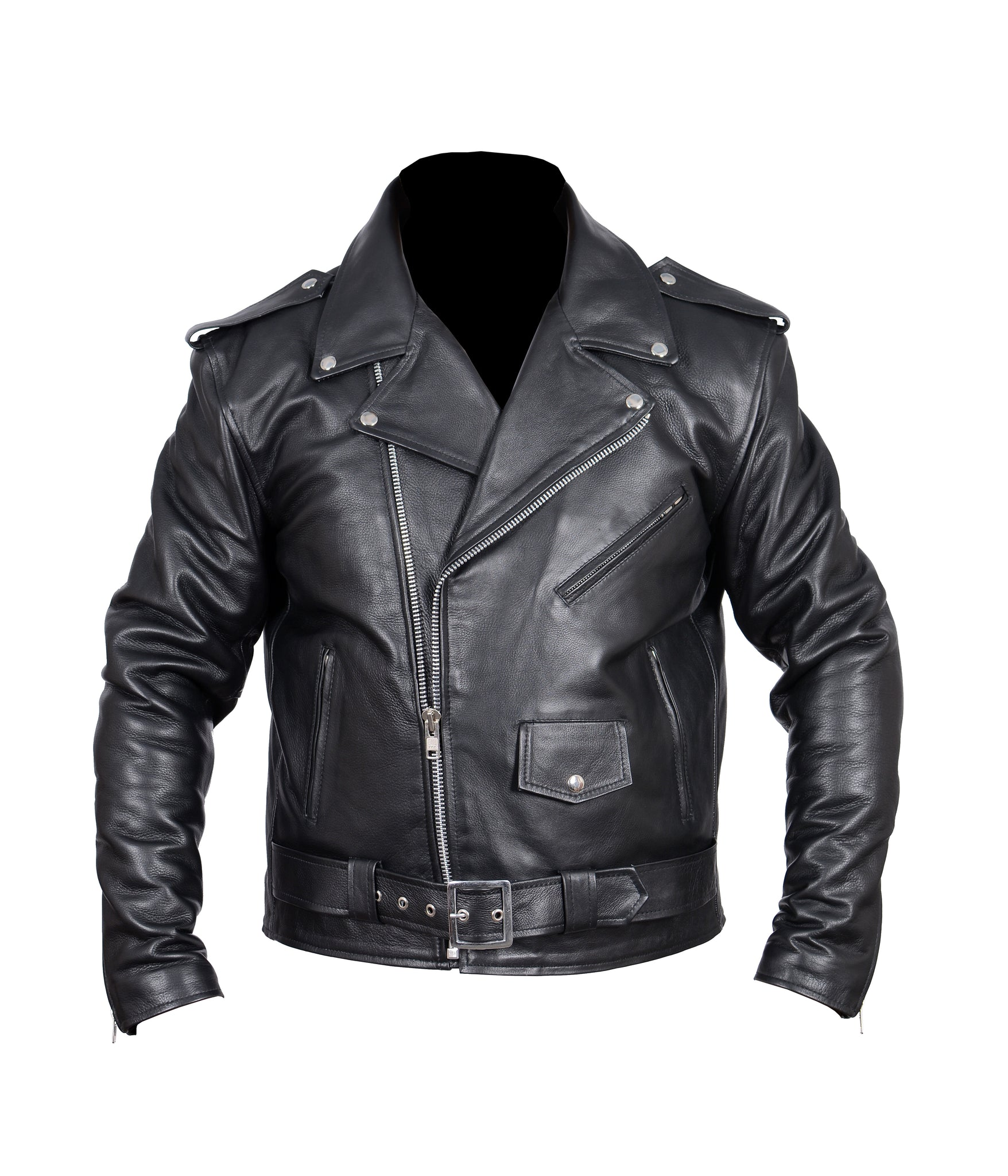 Diapo Leather Men's Black Rivet Asymmetrical  Cowhide Vegetable Tanned Leather Jacket    40% OFF