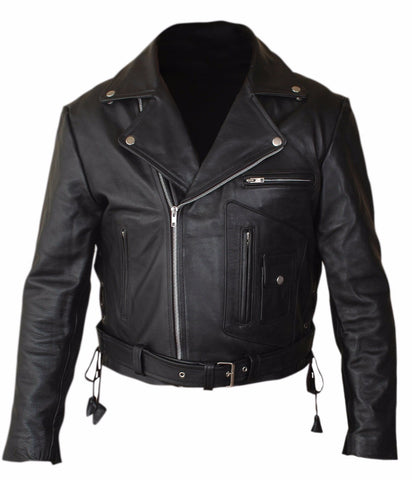 Diapo Leather Men's Black Rivet Asymmetrical Terminator Classic Cowhide Vegetable Tanned Leather Jacket