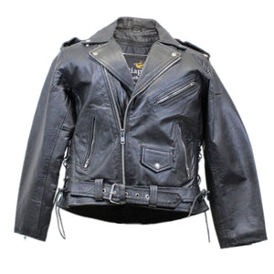 Diapo Leather Men's Black  Asymmetrical with Side Lacing Motorcycle  Cowhide Vegetable Tanned Leather Jacket