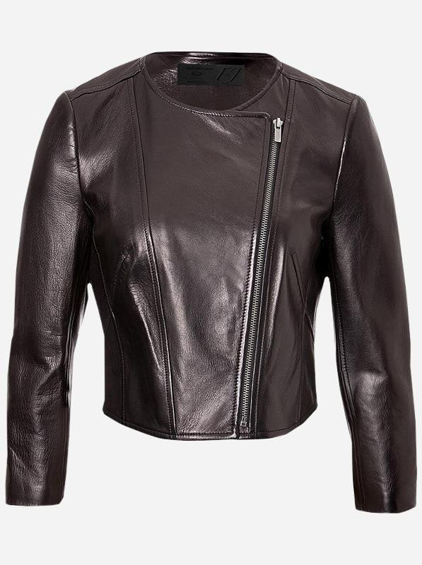 Diapo Leather Women's Dark Brown Rivet Cowhide Vegetable Tanned Leather Jacket  40% OFF