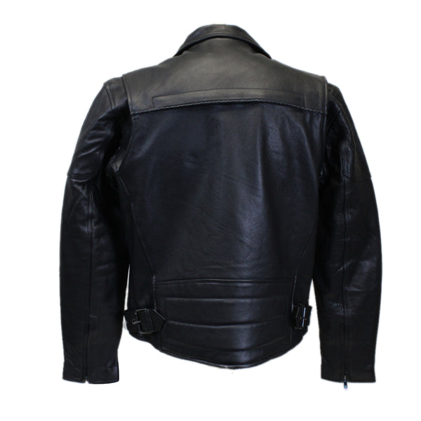 Diapo Leather Men's Black Motobike Cowhide Vegetable Tanned Leather Jacket