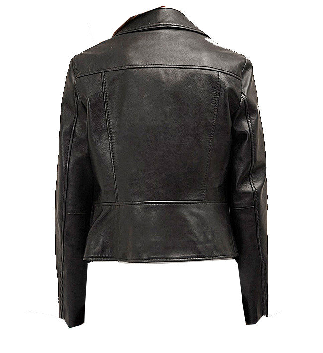 Diapo Leather Women's Black Rivet Asymmetrical with Shoulder Quilt Cowhide Vegetable Tanned Leather Jacket  40% OFF