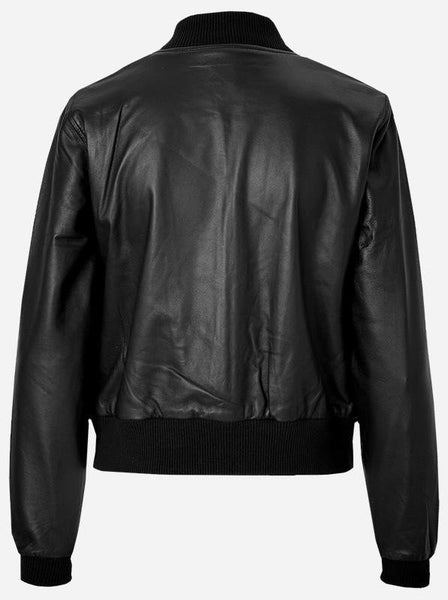 Diapo Leather Women's Black Bomber With Two Front Pocket Cowhide Vegetable Tanned Leather Jacket