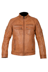 Diapo Leather Men's Cognac Rivet with Tab Collar Motorcycle Cowhide Vegetable Tanned Leather Jacket