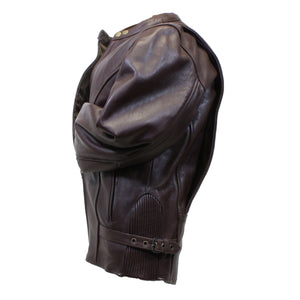 Diapo Leather Men's Dark Brown Rivet Center Zip Cowhide Vegetable Tanned Leather Jacket