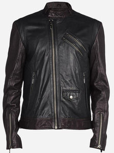 Diapo Leather Men's Black/Brown Rivet Moto Cowhide Vegetable Tanned Leather Jacket   40% OFF