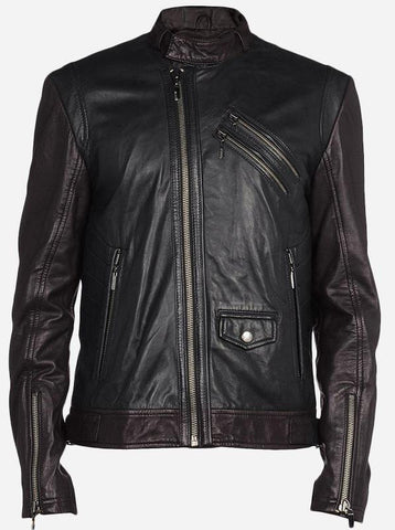 Diapo Leather Men's Black/Brown Rivet Moto Cowhide Vegetable Tanned Leather Jacket