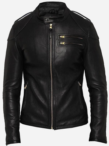 Diapo Leather Men's Black Rivet Center Zip Motorbike Cowhide Vegetable Tanned Leather Jacket