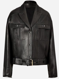 Diapo Leather Men's Black Motorbike Cowhide Vegetable Tanned Leather Jacket