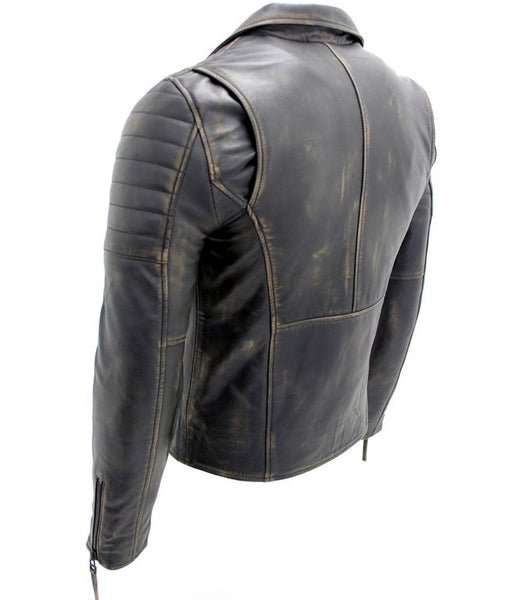 Diapo Leather Men's Black Rivet Distressed Classic Asymmetrical  Motorcycle Cowhide Vegetable Tanned Leather Jacket