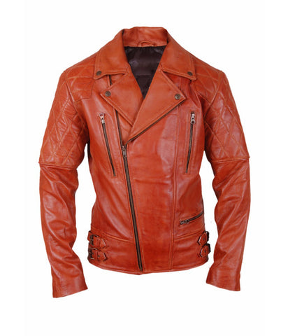Diapo Leather Men's Red Orange Performance Padded  Motorcycle Cowhide Vegetable Tanned Leather