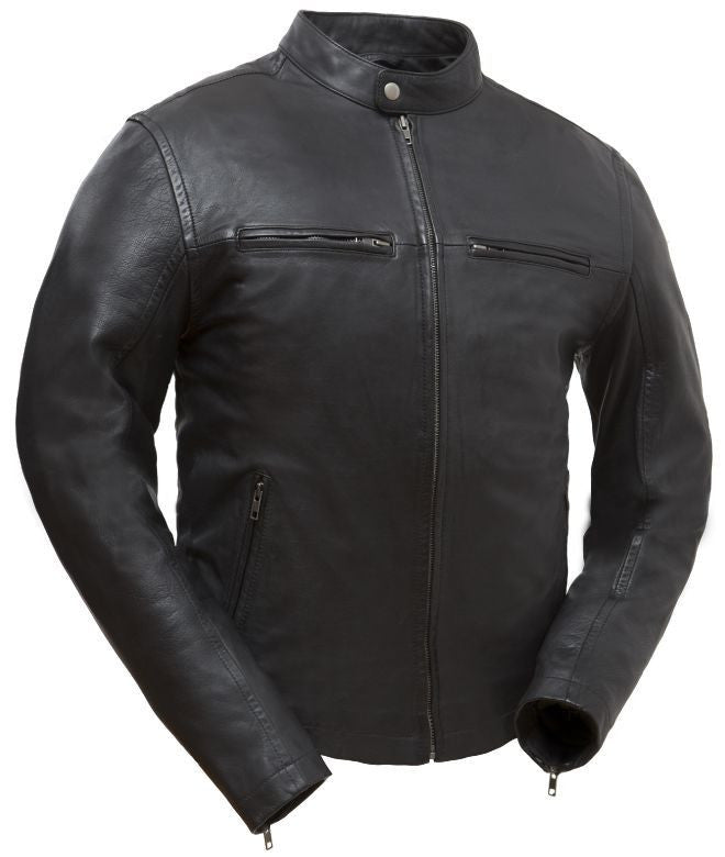 Diapo Leather Men's Black Rivet Motorcycle Cowhide Vegetable Tanned Leather Jacket    40% OFF