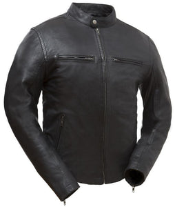 Diapo Leather Men's Black Rivet Motorcycle Cowhide Vegetable Tanned Leather Jacket
