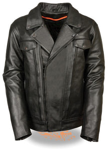 Diapo Leather Men's Black Rivet Asymmetrical  Moto Cowhide Vegetable Tanned Leather Jacket