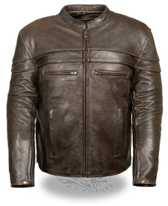 Diapo Leather Men's Dark Brown Rivet Center Zip Motorcycle Cowhide Vegetable Tanned Leather Jacket