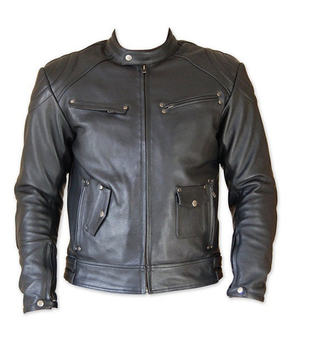 Diapo Leather Men's Black Rivet Center Zip with Tab Collar  Moto Cowhide Vegetable Tanned Leather Jacket
