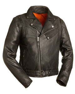 Diapo Leather Men's Black Rivet Asymmetrical Motorcycle Cowhide Vegetable Tanned Leather Jacket